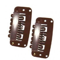 Hair Clips - Brown Small x2